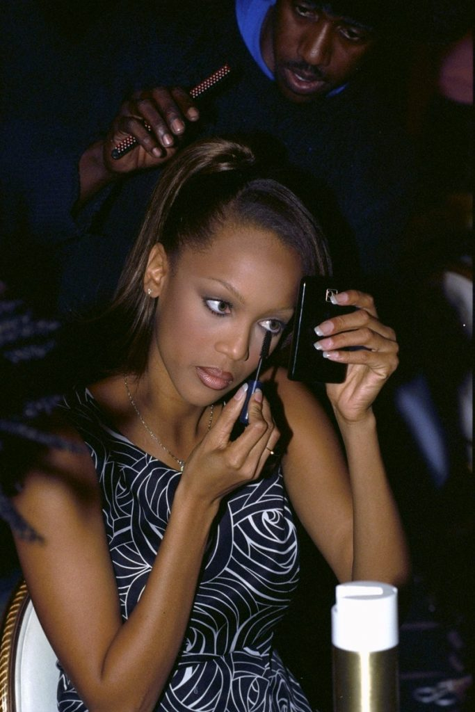 Tyra Banks backstage at the 1996 Victoria's Secret Fashion Show