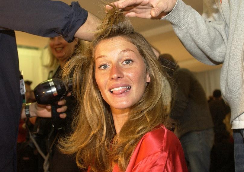 Gisele Bündchen backstage at the 2003 Victoria's Secret Fashion Show